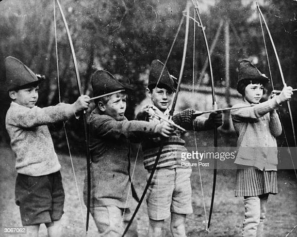Prince Philip of Greece, later Duke of Edinburgh, with his schoolmates at the MacJannet American school in St-Cloud, Paris, circa 1929. The prince is...