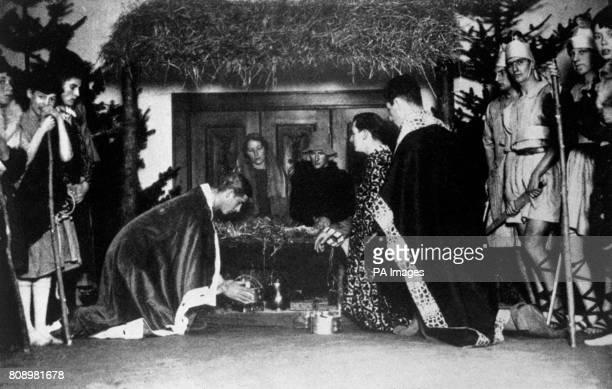 Prince Philip of Greece performs as King Melchior in a nativity play at his public school Gordonstoun Elgin Scotland