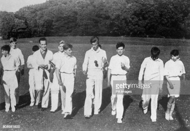 Prince Philip of Greece with the Junior Cricket Team at the public school of Gordonstoun Elgin Scotland
