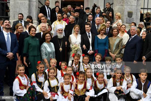 Prince Philip of Serbia, also known as Filip Karadjordjevic , his bride Danica Marinkovic , relatives and guests, including former Queen Sofia of...