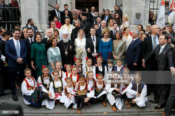 Prince Philip of Serbia and Danica Marinkovic during their church wedding at The Cathedral Church of St Michael the Archangel on October 7 2017 in...