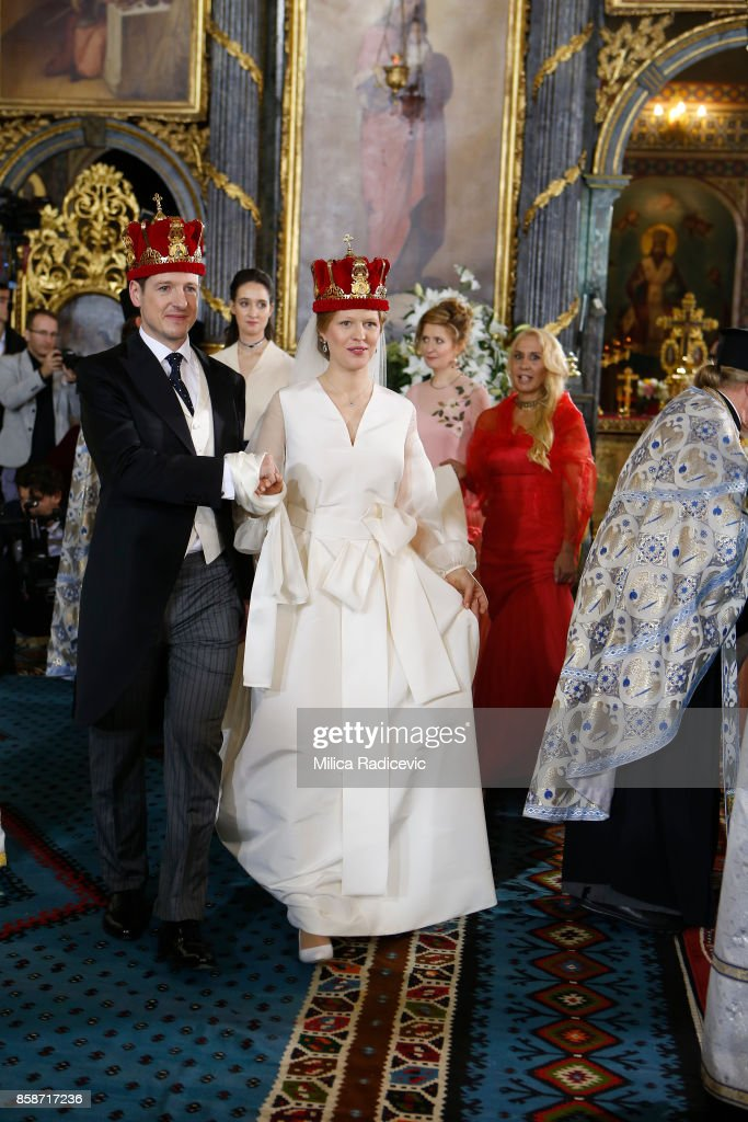 Prince Philip of Serbia and Danica Marinkovic during their church wedding at The Cathedral Church of St. Michael the Archangel on October 7, 2017 in Belgrade, Serbia.