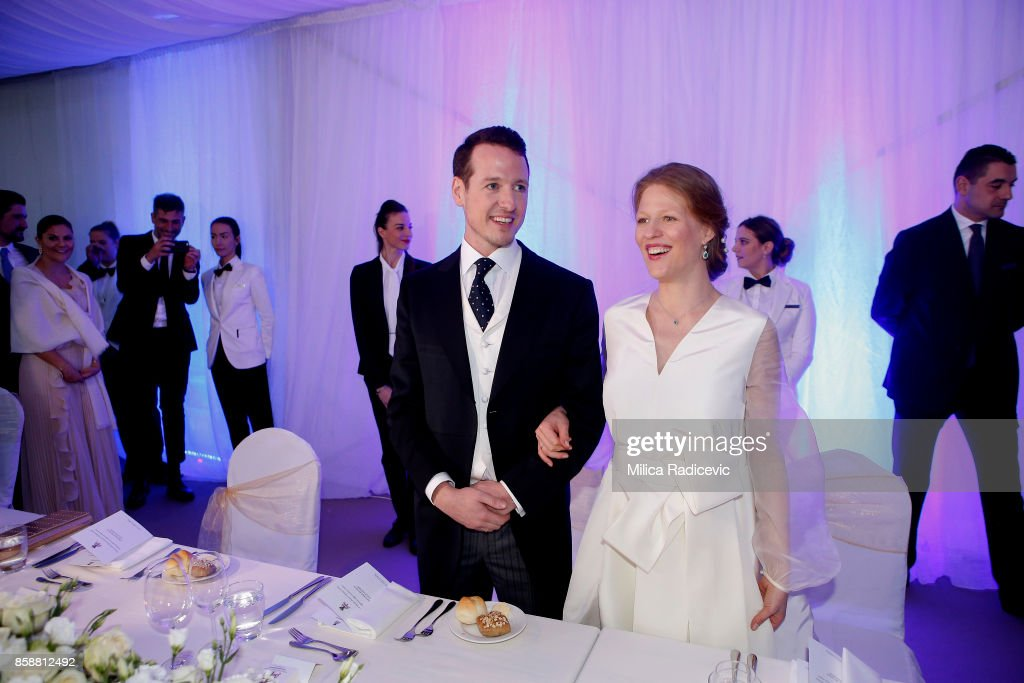 Prince Philip Of Serbia And Danica Marinkovic during their wedding at The White Palace on October 7, 2017 in Belgrade, Serbia.