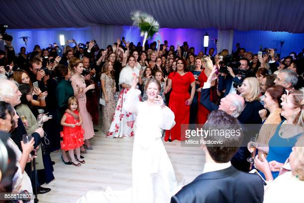 Prince Philip Of Serbia And Danica Marinkovic during their wedding at The White Palace on October 7 2017 in Belgrade Serbia