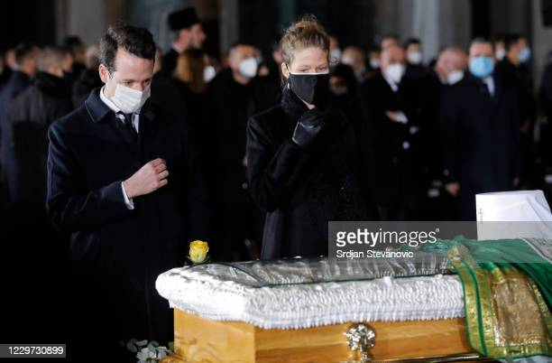 Prince Philip Of Serbia and Danica Marinkovic pay their last respects to the late Serbian Patriarch Irinej during his funeral service at Belgrade's...
