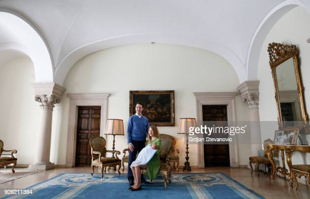 Prince Philip Of Serbia and wife Danica Marinkovic present their baby son Stefan at Royal Palace on March 2 2018 in Belgrade Serbia