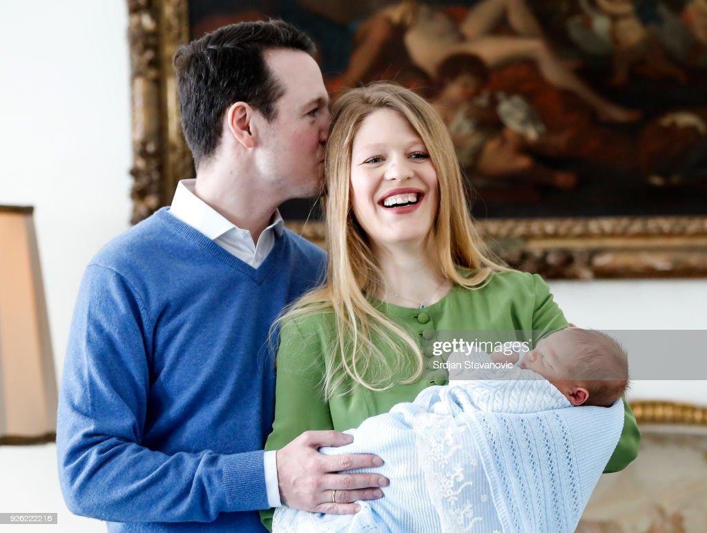 Prince Philip Of Serbia And Wife Danica Marinkovic Present Newborn Son Stefan In Belgrade : Nachrichtenfoto