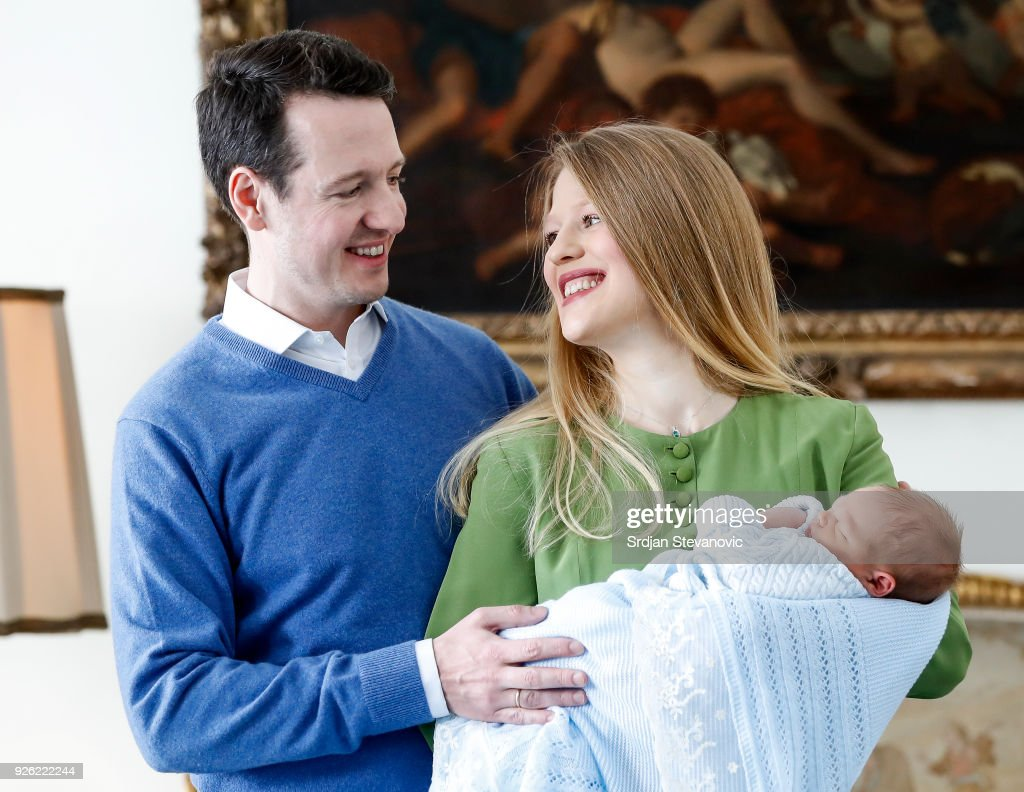 Prince Philip Of Serbia And Wife Danica Marinkovic Present Newborn Son Stefan In Belgrade : Nachrichtenfoto