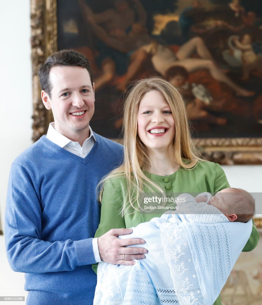 Prince Philip Of Serbia and wife Danica Marinkovic present their baby son Stefan at Royal Palace on March 2, 2018 in Belgrade, Serbia.