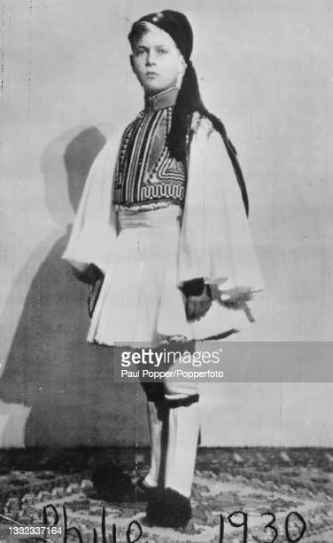 Prince Philip posed aged nine wearing Greek national costume, including a fustanella skirt, in 1930.