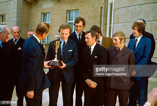HRH Prince Philip presents the County Championship Trophy to Richard Gilliat of Hampshire at Buckingham Palace London 1st October 1973 Also in photo...
