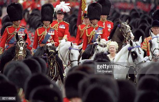 Prince Philip Prince Charles And The Duke Of Kent Escort The Queen In The Trooping The Colour Procession