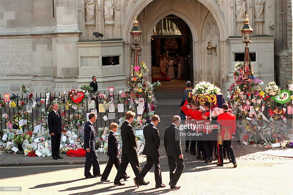 Prince Philip, Prince William, Earl Spencer, Prince Harry And Prince Charles Following The Coffin Of The Princess Of Wales, Carried Into Westminster Abbey.