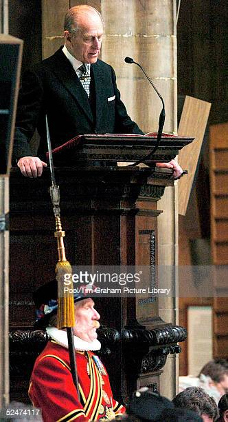 Prince Philip reads a lesson during the traditional Easter Maundy Service on March 24 2005 in Wakefield England