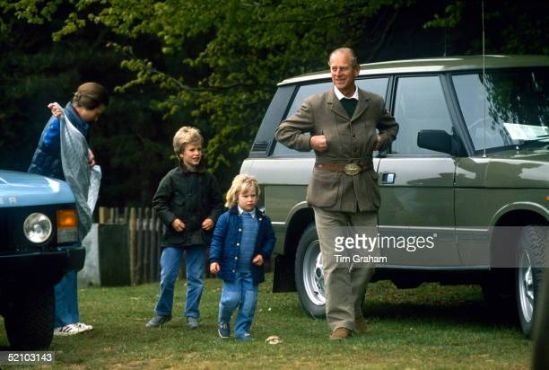 Prince Philip Smiling As He Attends The Royal Windsor Horse Show With His Daughter Princess Anne, And Grandchildren Peter And Zara Phillips And Their...