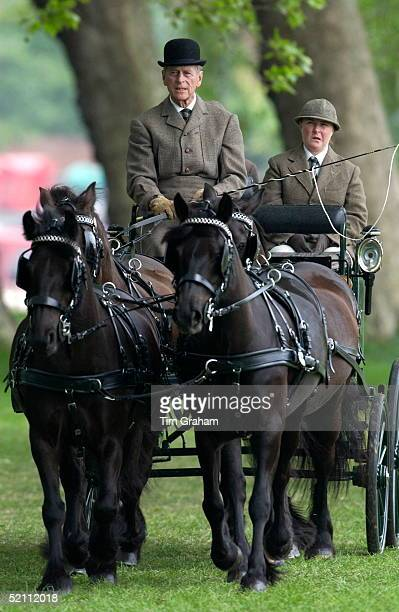 Prince Philip Taking Part In The Dressage Section Of The International Driving Grand Prix At The Royal Windsor Horse Show With A Team Of The Queen's...