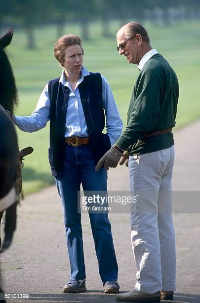 Prince Philip Talking With His Daughter Princess Anne At The Royal Windsor Horse Show