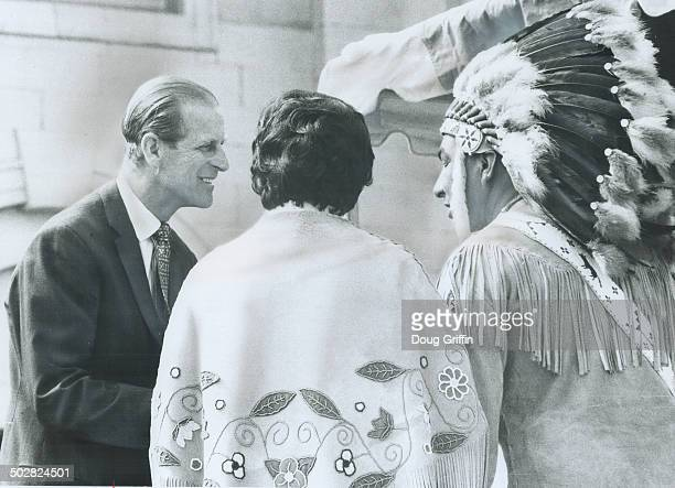 Prince Philip talks with Indians in Kingston the heartland of the United Empire Loyalists who clung to their British ties during the American...