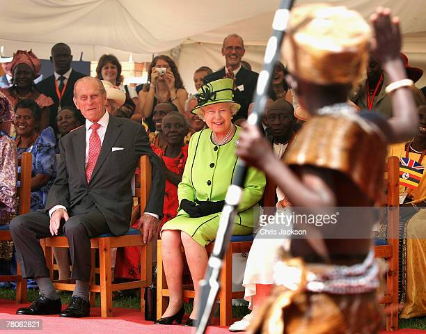 Prince Philip The Duke of Edinburgh and HRH Queen Elizabeth II watch AIDS orphans perform a fashion show at the Mildmay centre for AIDS Orphans on...