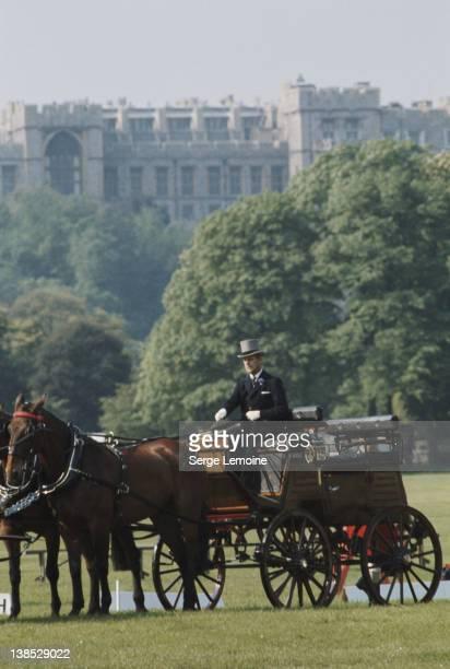 Prince Philip the Duke of Edinburgh at a carriage driving event UK circa 1980