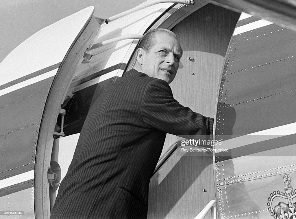 Prince Philip, the Duke of Edinburgh, boarding a plane at London Airport on 20th November 1969.