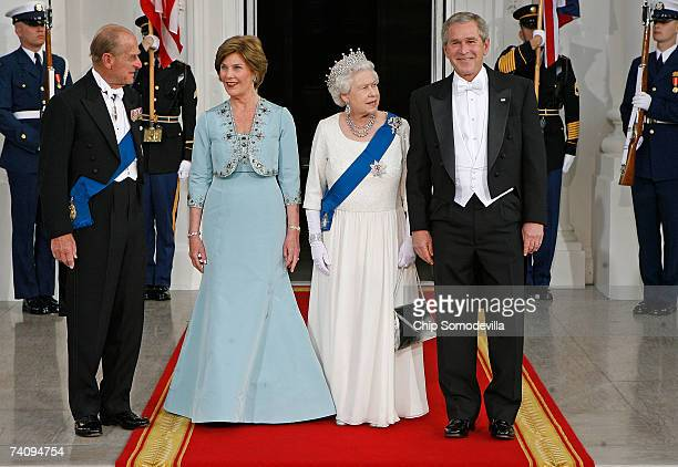 HRH Prince Philip the Duke of Edinburgh First Lady Laura Bush HM Queen Elizabeth II and US President George W Bush pose for photographs on the North...