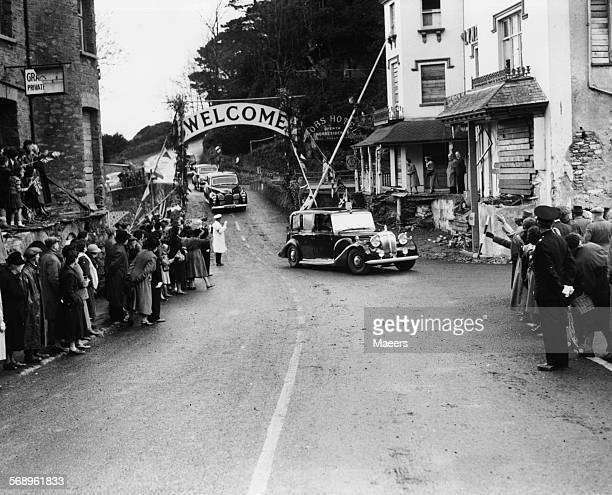 Prince Philip the Duke of Edinburgh in a car arriving in Lynmouth over the Countisbury Bridge October 30th 1952