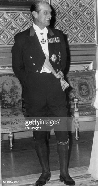 Prince Philip The Duke of Edinburgh in knee breeches and Garter at Windsor Castle before state banquet *Lowres scan Hires scan on request*