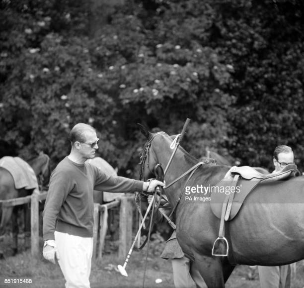 Prince Philip The Duke of Edinburgh in the paddock when he held his Windsor Park polo team against The Centaure in a first round match of the Cup The...