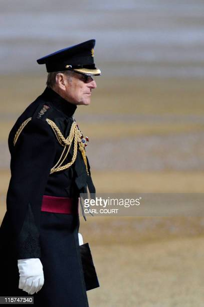 Prince Philip the Duke of Edinburgh leaves after taking the Salute at the Household Division Beating Retreat on Horse Guards Parade in London on June...