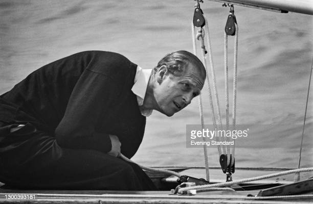 Prince Philip, the Duke of Edinburgh, on a sailing boat at Cowes on the Isle of Wight, UK, 14th August 1972.