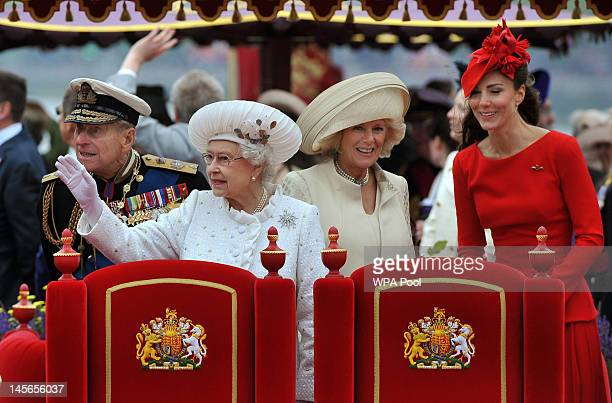 Prince Philip The Duke of Edinburgh Queen Elizabeth II Camilla Duchess of Cornwall and Catherine Duchess of Cambridge onboard the Spirit of Chartwell...