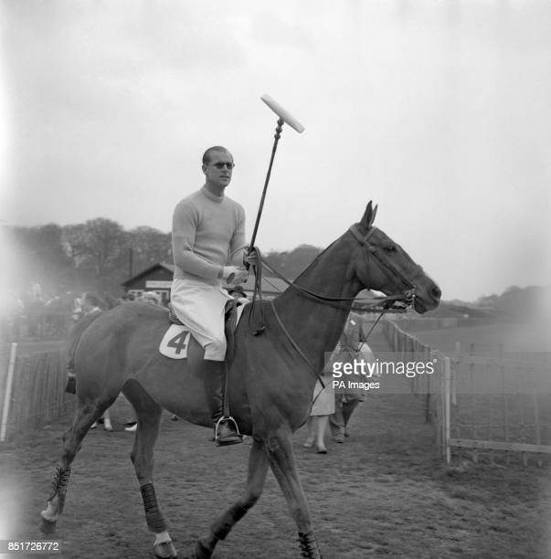 Prince Philip, The Duke of Edinburgh, rides out on his pony for the polo match in which he played for the Welsh Guards against the Diehards at the...