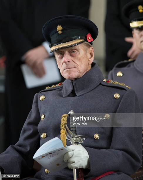 Prince Philip The Duke of Edinburgh Senior Colonel Household Division and Colonel Grenadier Guards attending the Last Post ceremony on November 11...