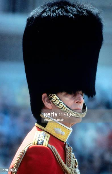 Prince Philip, the Duke of Edinburgh, wearing a bearskin hat, attends the Trooping the Colour ceremony, London, June 3, 1978.