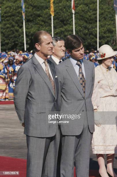 Prince Philip the Duke of Edinburgh with his son Prince Andrew during their tour of Africa 1979