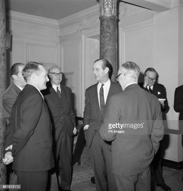 Prince Philip The Duke of Edinburgh with Mr FLD Flintoff the Greater London Council's Assistant Director of Refuse Disposal and Sir Walter Worboys...