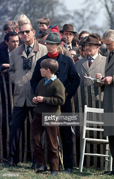 Prince Philip The Duke of Edinburgh with Princess Anne and Prince Andrew during the Badminton Horse Trials in Gloucestershire on 26th April 1969