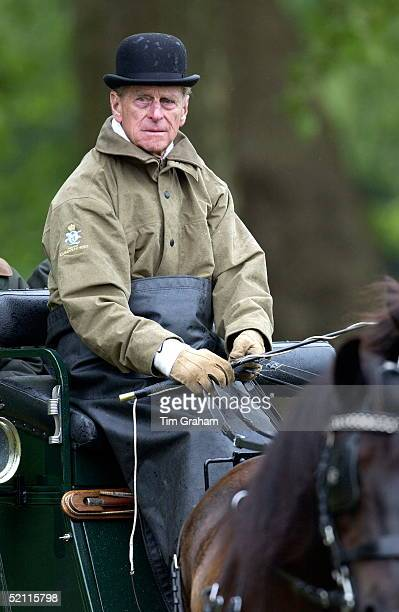 Prince Philip Wearing Wet Weather Raincoat And Bowler Hat To Compete In The International Carriage Driving Grand Prix Championships In Windsor Great...