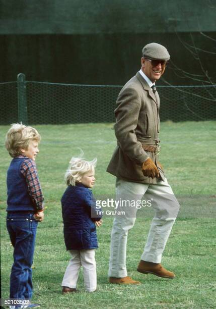 Prince Philip With His Grandchildren Peter And Zara Phillips At The Royal Windsor Horse Show.