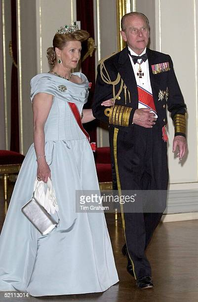 Prince Philip With Queen Sonja Of Norway Arriving For The State Banquet At The Royal Palace In Oslo, Norway.