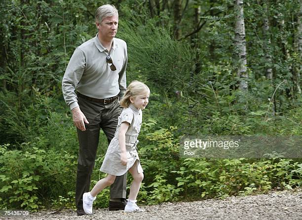 Prince Philippe and Princess Elisabeth of Belgium walk in park Chlrophylle on July 16 in Dochamps Belgium