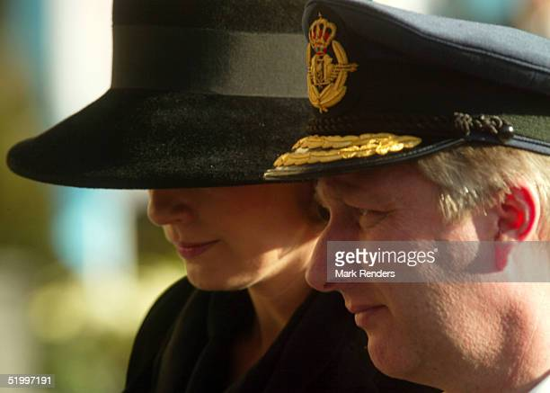 Prince Philippe and Princess Mathilde leave the Cathedral after the funeral of the Grand Duchess Josephine Charlotte January 15 2005 in Luxembourg...