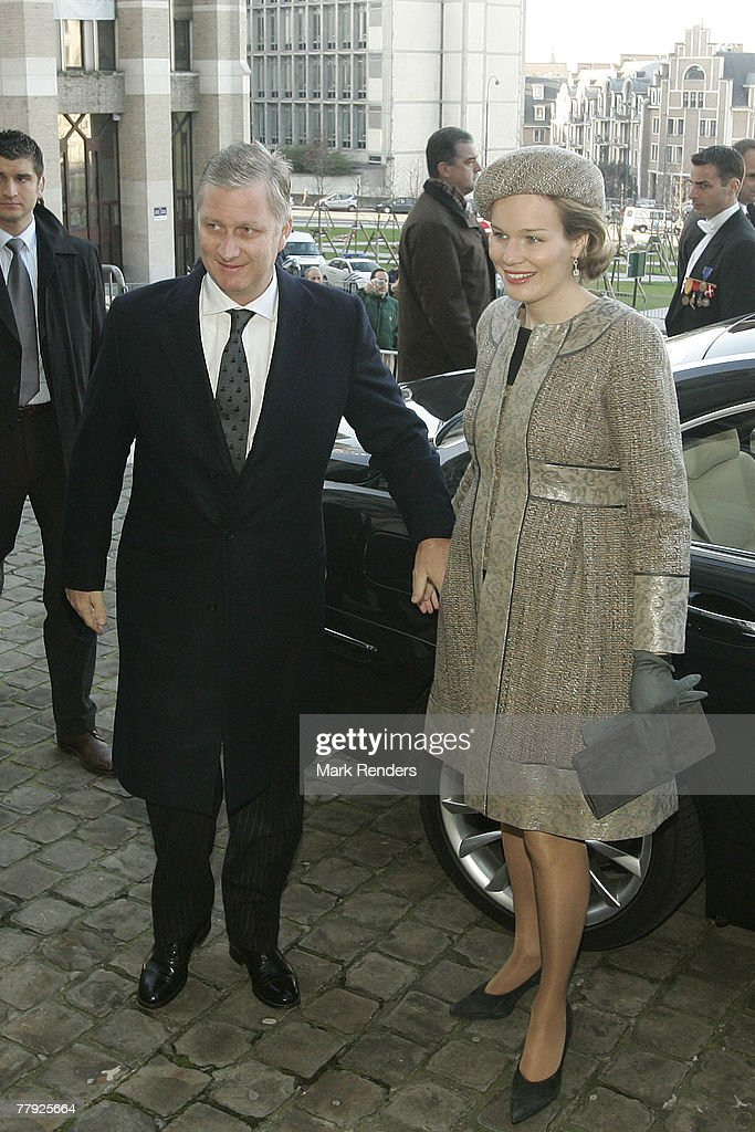 Prince Philippe and Princess Mathilde of Belgium arrive at the Cathedrale St. G?dule to attend the Te Deum , on Kings Day on November 15, 2007 in Brussels, Belgium.