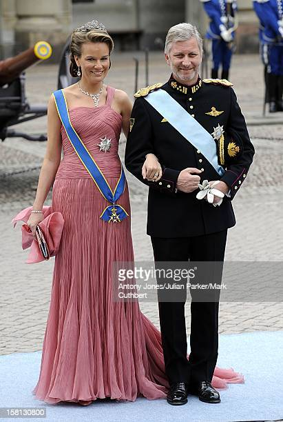 Prince Philippe And Princess Mathilde Of Belgium At The Wedding Of Crown Princess Victoria Of Sweden And Daniel Westling At Stockholm Cathedral