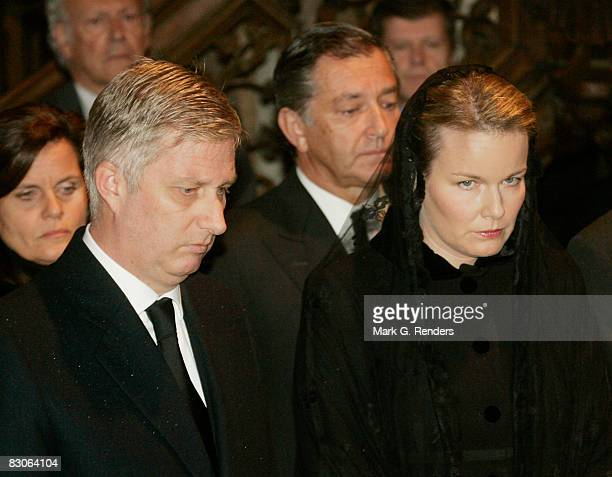 Prince Philippe and Princess Mathilde of Belgium attend the funeral of Patrick d'Udekem d'Acoz Princess Mathilde's Father at Saint Pierre Church on...