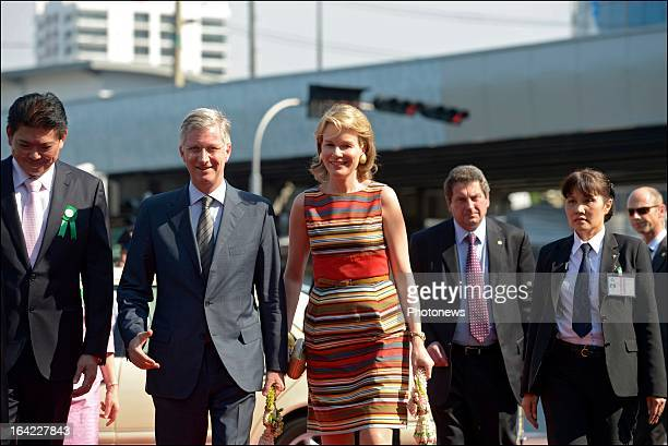 Prince Philippe and Princess Mathilde of Belgium attend the inauguration of the new logo of the Thai Belgian Bridge to mark its 25th anniversary...