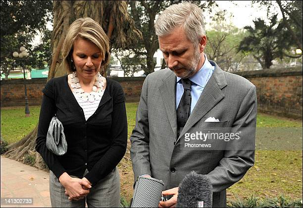 Prince Philippe and Princess Mathilde of Belgium hold a press conference on the bus crash that killed 22 school children during a Belgian economic...