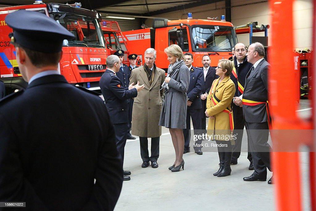 Prince Philippe and Princess Mathilde of Belgium visit the Jodoigne Fire Brigade on December 20, 2012 in Jodoigne, Belgium.