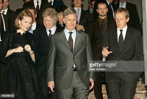 Prince Philippe and Princess Mathilde of Belgium visit the Le Sourire de Bouddha exhibition at the Palais des BeauxArts on January 13 2009 in...